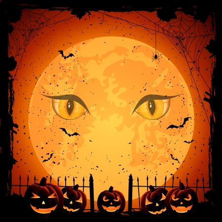 Scary Halloween night background with Moon and pumpkins, illustration  Vector