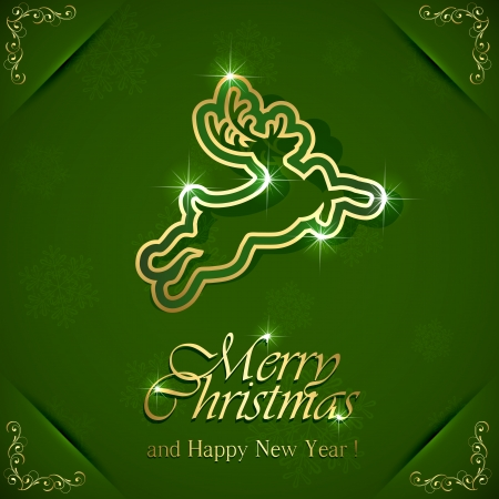 Golden Christmas deer on green background with floral elements, illustration  Vector