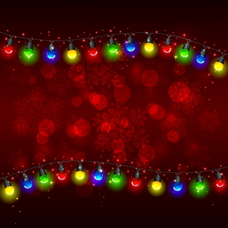 navidad: Colorful Christmas light on red background with stars, illustration  Illustration