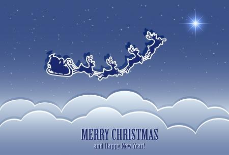 santa's sleigh in the night sky, illustration
