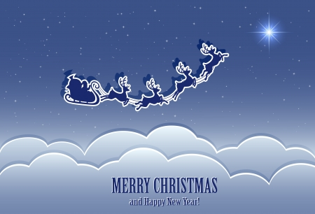 Santa's sleigh in the night sky, illustration