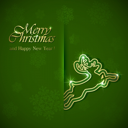 Golden Christmas deer on green background, illustration  Vector