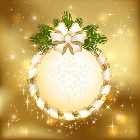 Golden background with bow and branch of Christmas tree, illustration  Vector