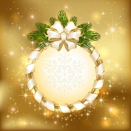 Gouden achtergrond met boog en tak van de kerstboom, illustratie Stock Illustratie