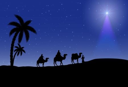 reyes magos: Tres hombres sabios y la estrella de la Navidad en fondo de la noche, la ilustración
