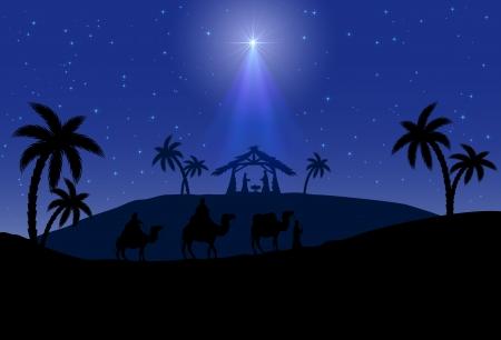 reyes magos: Escena cristiana de Navidad con los tres reyes magos y la estrella brillante, ilustraci�n