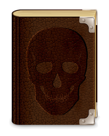 old leather: Old leather book with skull, isolated on white background, illustration