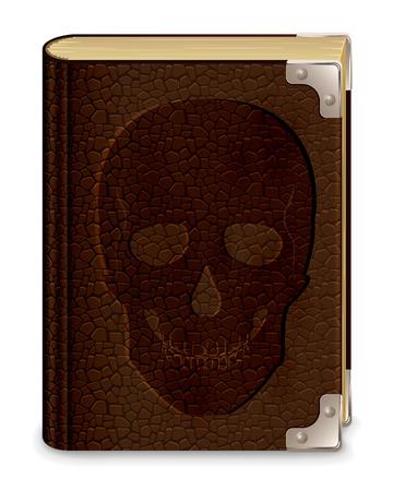 Vecchio libro in pelle con teschio, isolato su sfondo bianco, illustrazione Archivio Fotografico - 22605490