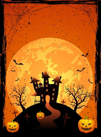 Halloween night, Scary House on the moon background, illustration  Vector