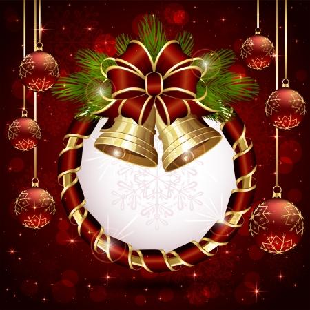 feliz: Sfondo con fiocco rosso, campane di Natale e baubles, illustrazione Vettoriali
