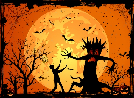 Halloween background with scary tree and fearfulness man, illustration  Vector
