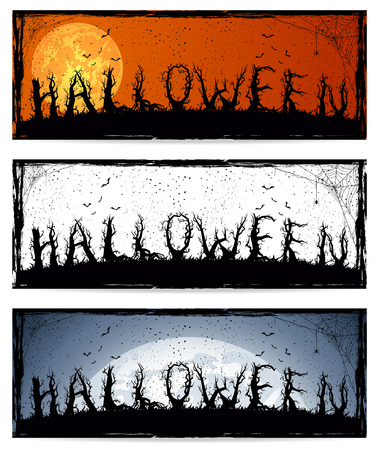 Set of three banners with Halloween text, illustration