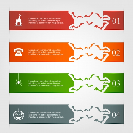 Horizontal Halloween infographic with bats and man, illustration  Vector