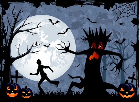 Halloween background with scary tree and fearfulness running man, illustration  Vector