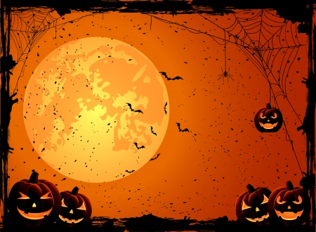 grungy background: Halloween night background with Moon and Jack O  Lanterns, illustration