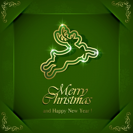 Shiny Christmas deer on green background with floral elements in corners, illustration  Vector