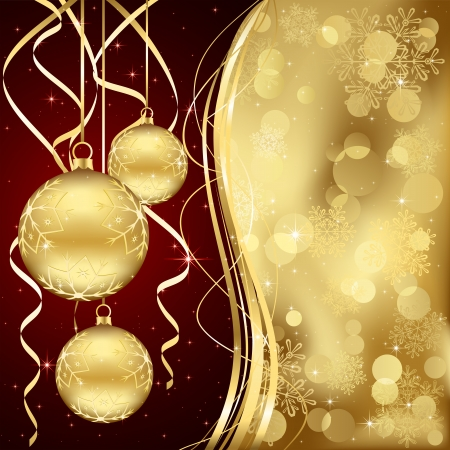 Christmas background with three golden baubles, illustration  Vector