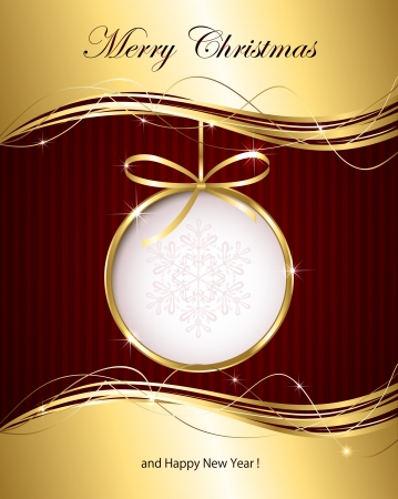 Christmas background with golden ribbon and bauble, illustration
