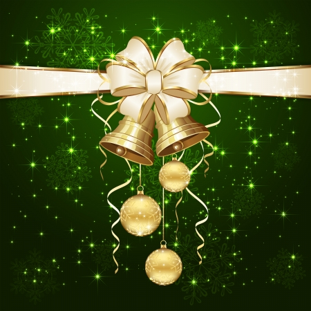 Green background with Christmas balls and golden bells, illustration  Vector