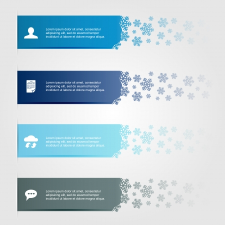 horizontal lines: Set of horizontal lines with snowflakes, can be used for design of website, illustration