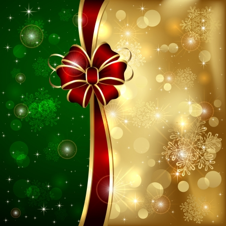 Golden Christmas background with red bow and shining stars, illustration  Vector