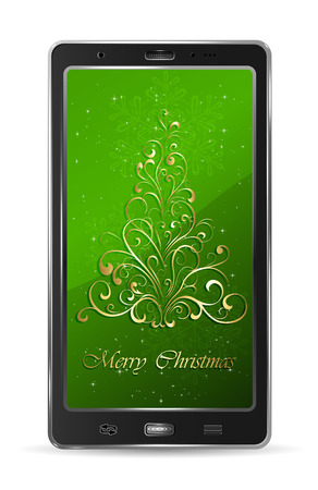 Realistic mobile phone with golden Christmas tree on green background, illustration  Vector