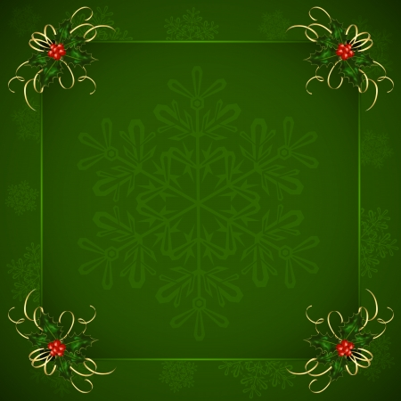 Green Christmas background with Holly berries and snowflakes, illustration  Vector