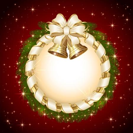 Rode achtergrond met kerst bells, beige boog en sparren takken, illustratie Stock Illustratie