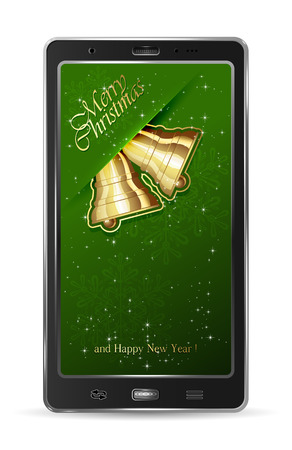 Realistic mobile phone with paper Christmas bells on green background, illustration Stock Vector - 23652036