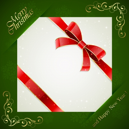 Green Christmas background with card and red holiday bow, illustration  Vector