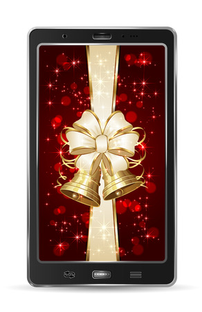 Realistic mobile phone with beige bow and Christmas bells, illustration  Vector