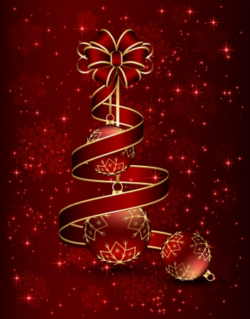 Christmas background with red bow, ribbon and three balls, illustration