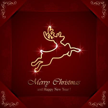 Christmas deer on red background with ornate elements, illustration  Vector