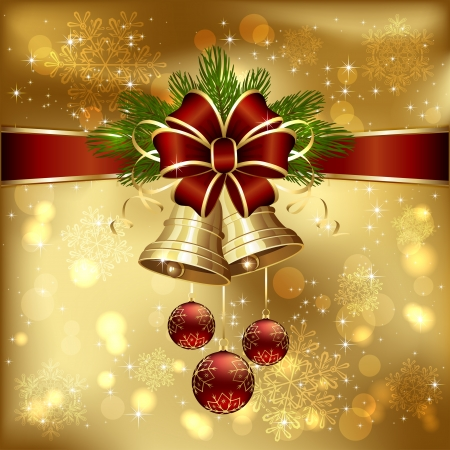 Golden background with Christmas bells, red bow, spruce branches and baubles, illustration