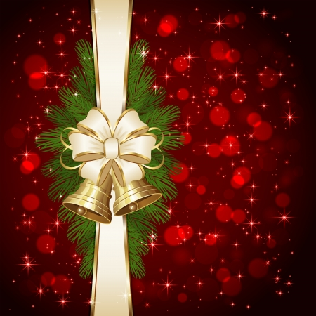 Red background with Christmas bells, beige bow,  spruce branches and blurry lights, illustration  Vector