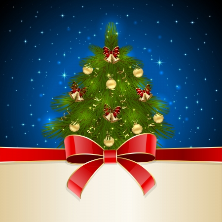 Blue background with Christmas tree and red bow, illustration  Vector