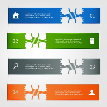 barbed wire: Set of horizontal infographic with barbed wire, can be used for design of website, illustration