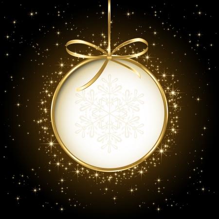 Black shiny Christmas background with bauble, illustration