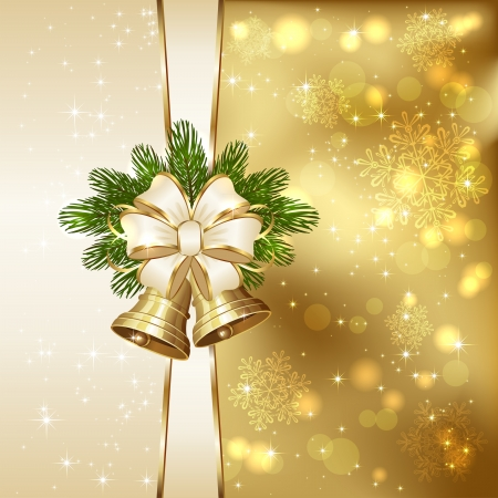 christmas bells: Golden background with Christmas bells, beige bow,  spruce branches and blurry lights, illustration