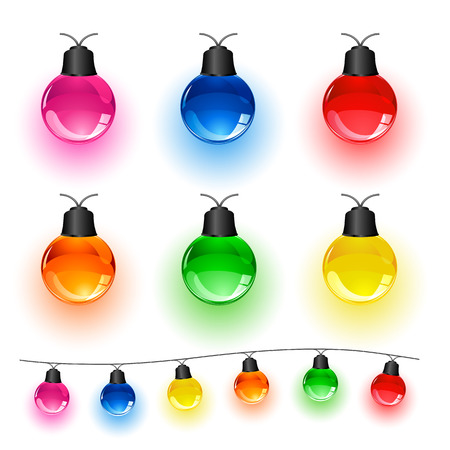Set of multi-colored Christmas light bulbs isolated on white background, illustration  Illustration