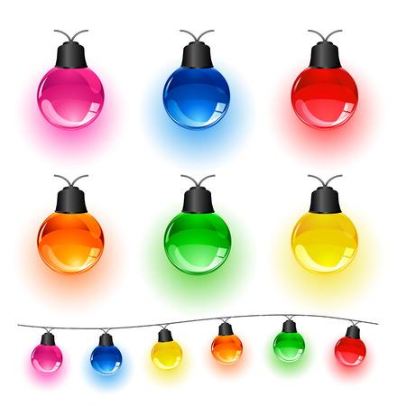 christmas bulbs: Set of multi-colored Christmas light bulbs isolated on white background, illustration  Illustration