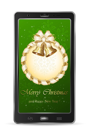 Realistic mobile phone with Christmas decoration, illustration  Vector