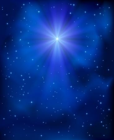 nascita di gesu: Natale brillante stella nel cielo blu, illustrazione Vettoriali