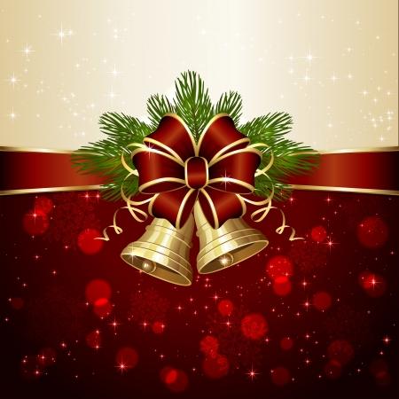 campanas de navidad: Navidad de fondo con dos campanas, arco rojo, ramas de abeto y luces borrosas, ilustración