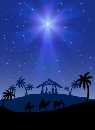 Christian Christmas scene with shining star, illustration