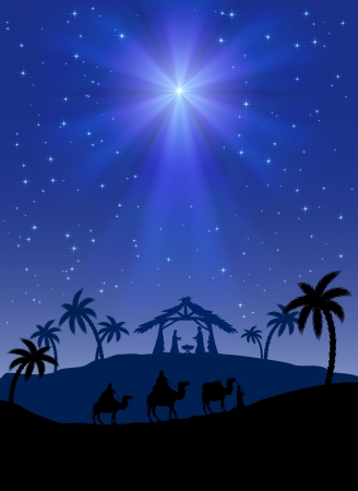 cartoon king: Christian Christmas scene with shining star, illustration
