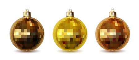 mirrorball: Set of three golden Christmas balls isolated on white background, illustration