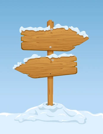 new arrow: Wooden sign with snow on blue sky background, illustration