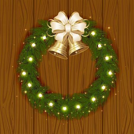 Wooden background with Christmas garland and bells, illustration  Vector