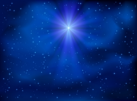 christian symbol: Shining Christmas star in the night sky, illustration